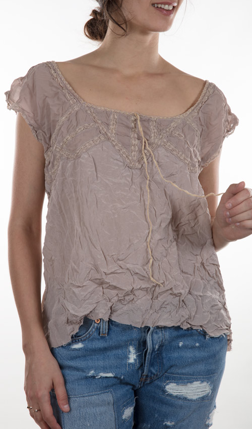Silk Gossmar Helaine Blouse with Pin Tucks and Cotton Lace