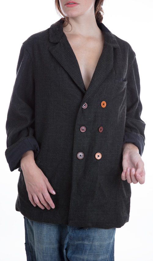 Plaid Fine Wool Holmes Jacket with Cotton Lining, Magnolia Pearl