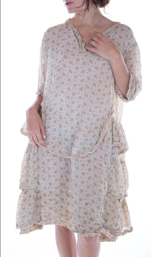 Cotton Silk Katina Dress with Side Ruffles, Decorative Cotton Lace, and Button Neckline - Magnolia Pearl