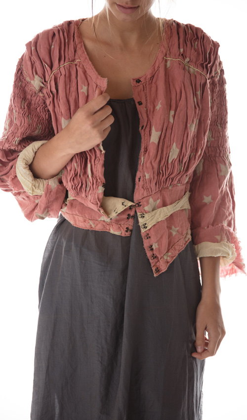 Elisabeta Waist Coat with Hand Smocked Pleats, Handstitching, and Linen Trim