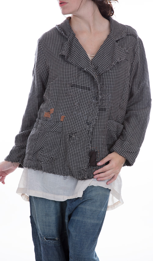 European Woven Cotton Donovan Jacket with Twill Lining, Distress and Mending,