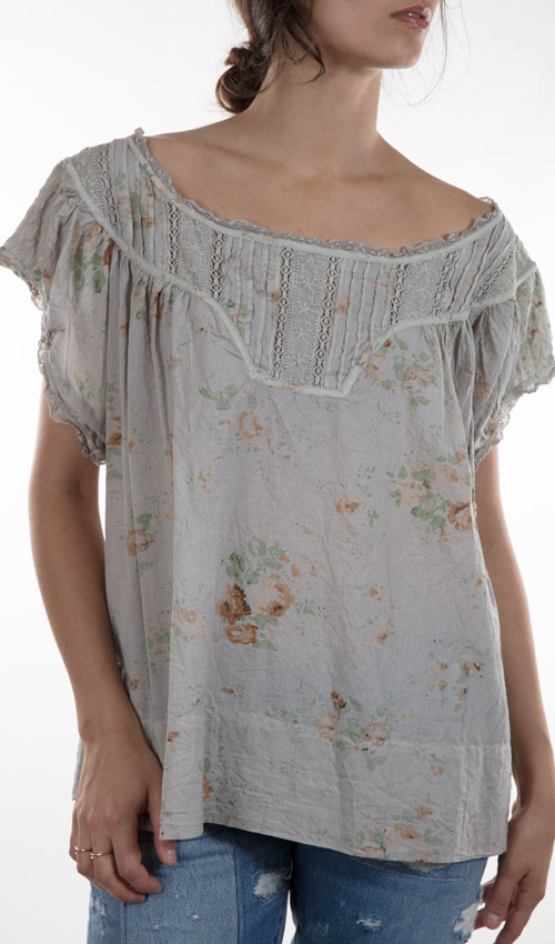 European Cotton Ottilia Top with with Antique Lace - Magnolia Pearl