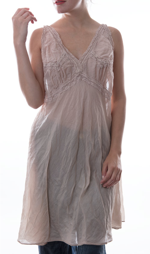 Cotton Silk Lille Lounge Slip with Lace Insets