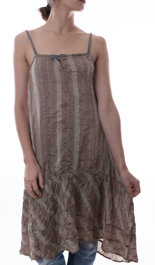 Silk and French Cotton Hope Slip Dress with Tiny Pleats and Antique Snaps,