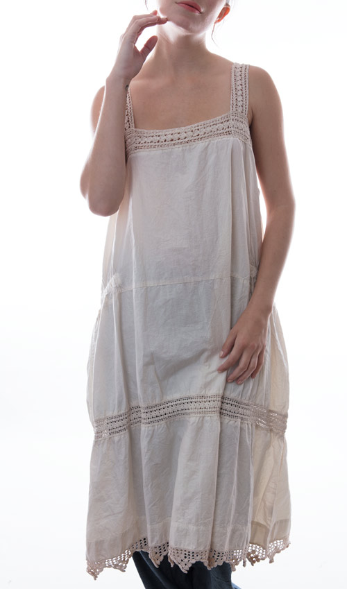 French Cotton Poplin Carlyna Dress with Natually Aged Hand Crocheted Yoke and Insets, Antique Snaps