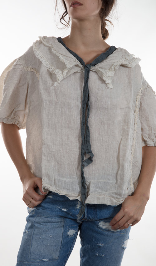 Linen Georgie Pullover Top with Lace Lined Collar and Necktie and Lace Details on the Front - Magnolia Pearl