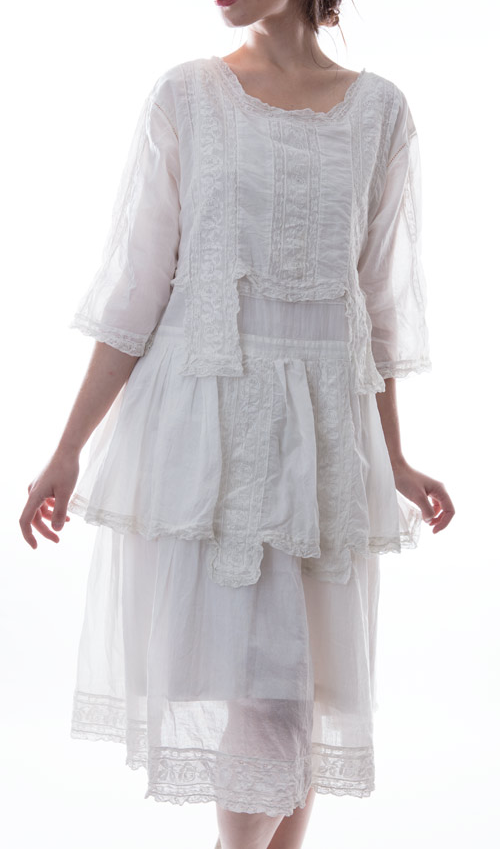 European Cotton Cecilia Dress with Cotton Lace Bib, Antiqued Snaps in Back and Ruffle at the Waist