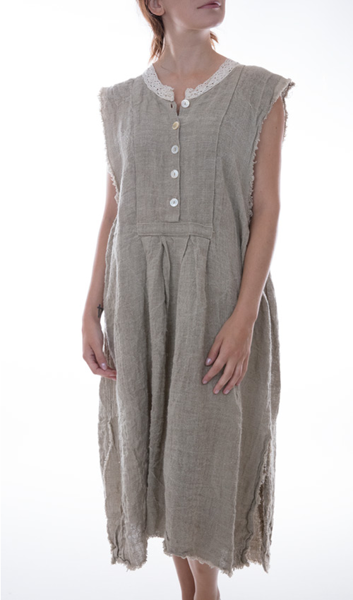 European Handwoven Linen Onka Layering Dress with Lace Neck and Front Buttons in Moss - Magnolia Pearl