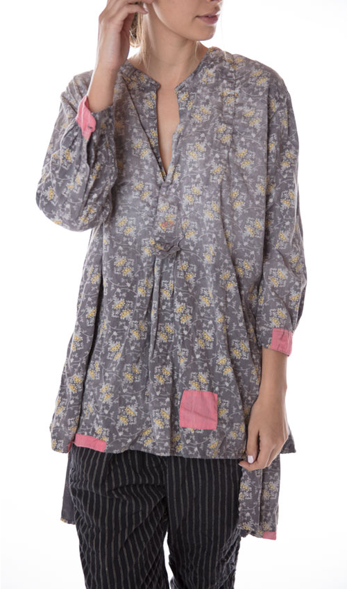 Ines French Cotton Poplin Classic Shirt with MP Cross Stitch, Magnolia Pearl