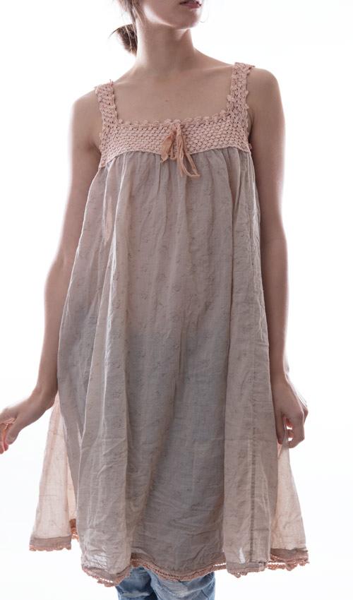 European Cotton Robina Dress with Hand Crocheted Ballet Yoke and Hem