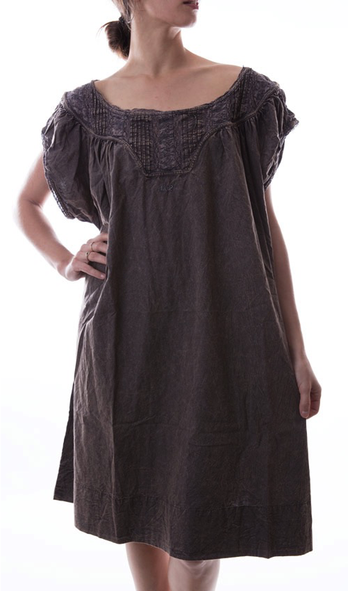 Cotton Poplin Ottilia Dress with Cap Sleeves and Antique Lace, Magnolia Pearl