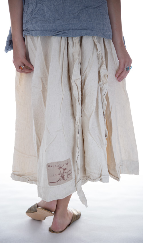 French Flex Cotton Ola Skirt with Gathered Elastic Waist and Tie in Natural Cotton - Magnolia Pearl