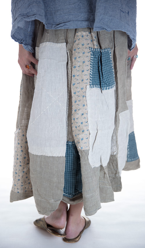 Linen Angelica Skirt with Cotton Quilted Patches, Front Pockets with Elastic Waist - Magnolia Pearl