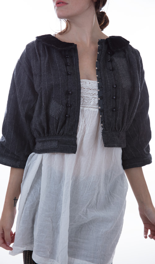 Beya Cropped Jacket with Collar, Hand stitched patches and Mending - Magnolia Pearl
