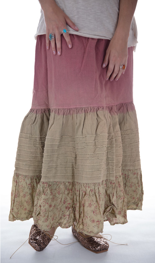 Cotton Naiis Skirt with Elastic and Drawstring Waist, Pintucks, and Floral Ruffle - Magnolia Pearl