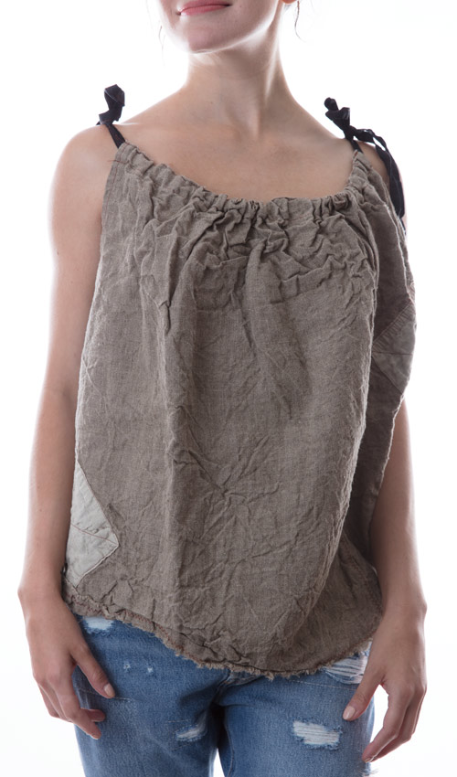 Linen Coco Tank with an Adjustable Drawstring Neck, Patches and Decorative Stitching - Magnolia Pearl