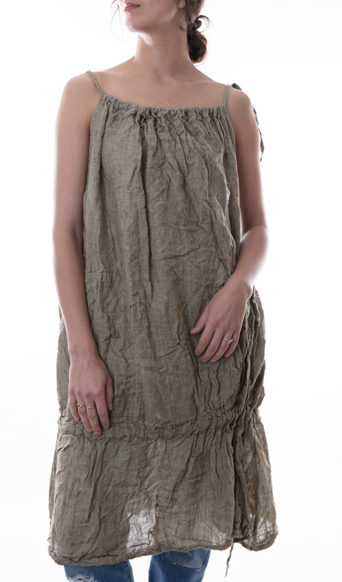 Linen Hidi Drawstring Dress with Front Pockets and Low Drawstring Ruffle in Graphite - Magnolia Pearl