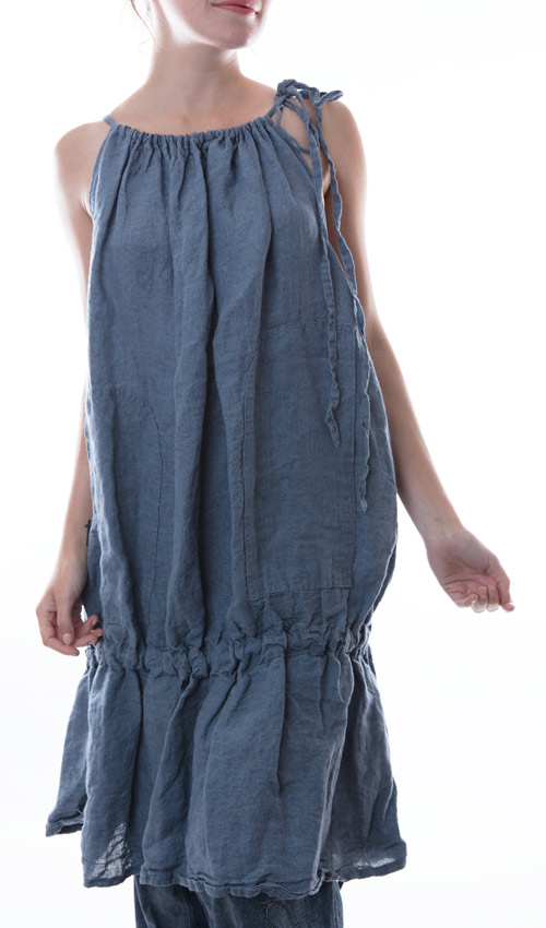 Linen Hidi Drawstring Dress with Front Pockets and Low Drawstring Ruffle in Indigo - Magnolia Pearl