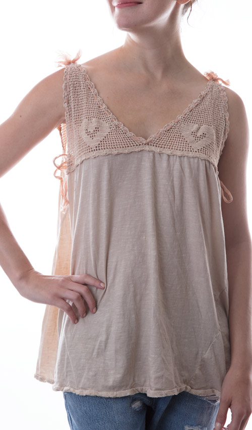 Cotton Queenie Tank withHand Crocheted Yoke, Silk Ties