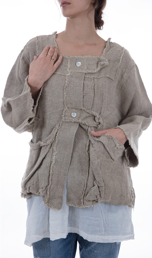 Browen Potters Jacket with Square Neckline, Adjustable Button Straps and Big Front Pockets - Magnolia Pearl