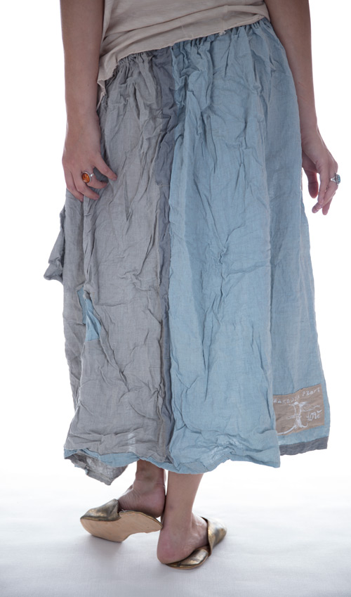 Light Weight Linen Hettie Skirt with Flat Front, Patches, Pleats and an Outside Pocket - Magnolia Pearl