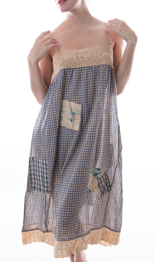 European Cotton Violet Dress with Hand Crochet Yoke, Eyelet Hem, and Hand Sewn Patches and Mending - Magnolia Pearl