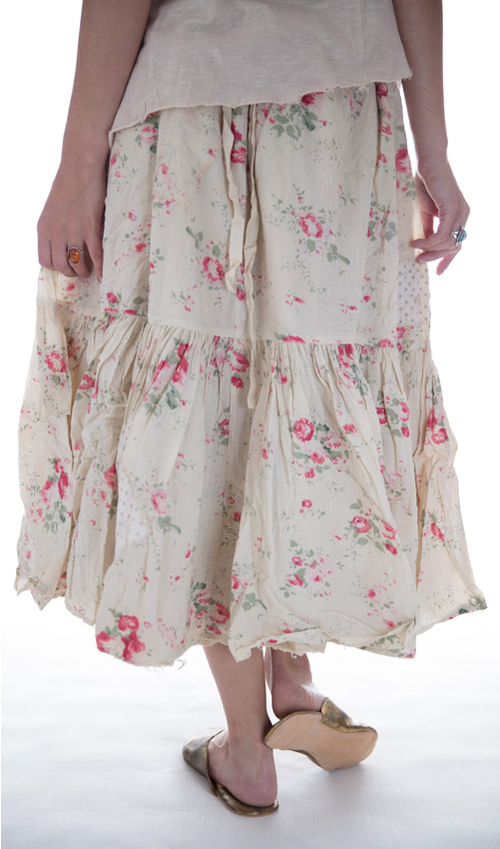 French Cotton Eyelet Cecily Skirt with Hand Mending Patches and Repairs - Magnolia Pearl