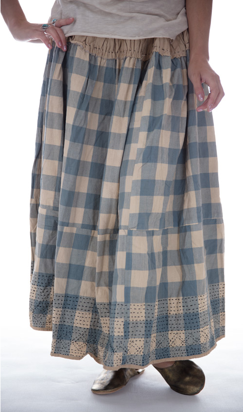French Cotton Mayblee Patchwork Skirt with Hand Embroidery and Drawstring Waist - Magnolia Pearl