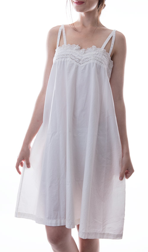 French Poplin Kellamy Slip Dress with Triangle Straps and Cotton Eyelet Lace
