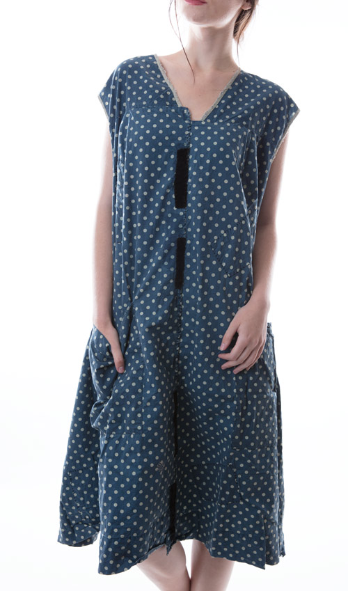 Delia Dress with Button Front, Pockets, Hand Stitched Patches and Mending