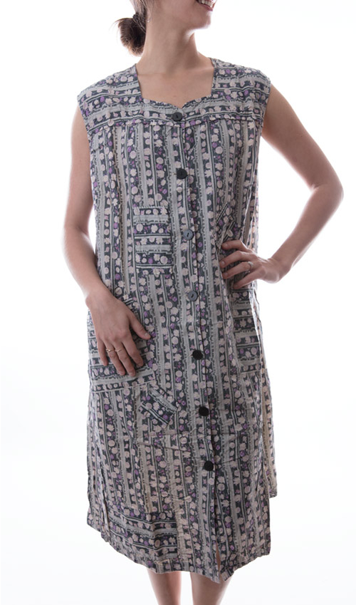 European Cotton Aunt Ida Tank Smock with Button Down Front, Two Front Pockets, Hand Stitched Mending and Patching - Magnolia Pearl