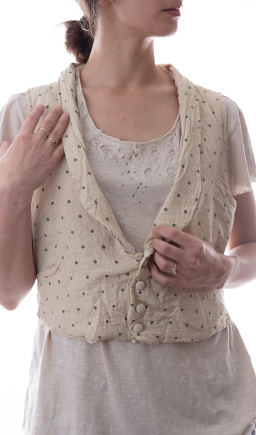 European Textured Cotton Adison Vest with Cloth Covered Buttons