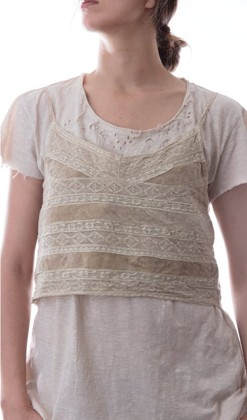 Cotton Lace and Velvet Valentina Cropped Layering Tank with Adjustable Spaghetti Straps, and Antiqued Hook and Eyes - Magnolia Pearl