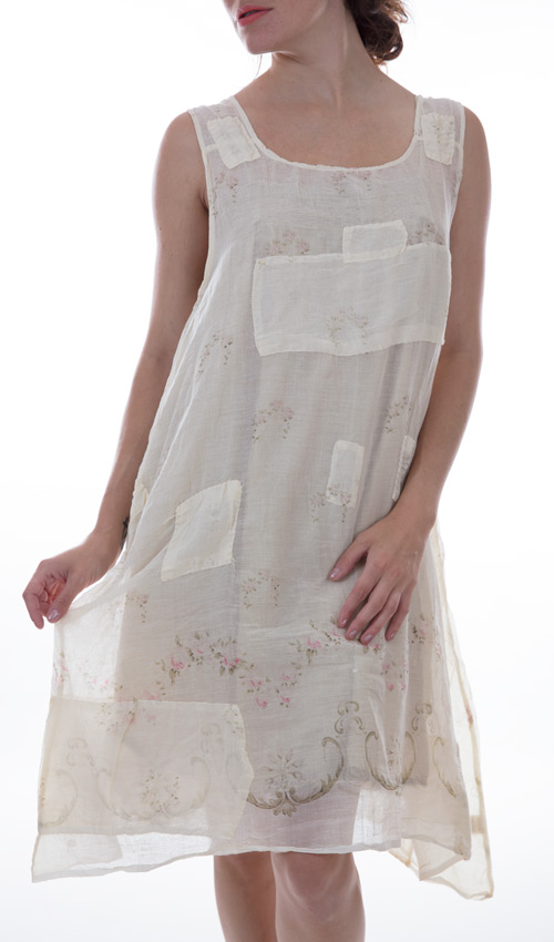 Cotton Baileybelle Sleeveless Slip Dress with Patches and Mending - Magnolia Pearl