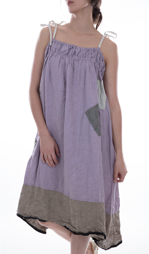 Linen Tessie Sundress with Pleated Elastic Top, Adjustable Tie Straps,Patches and Mending - Magnolia Pearl