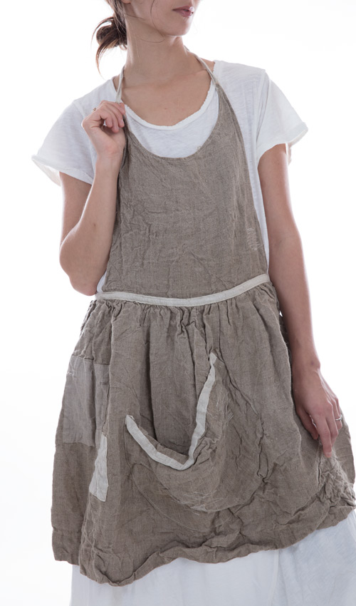 Short Homespun Linen Neva Apron with Patches, Pockets and Adjustable Ties in Flax