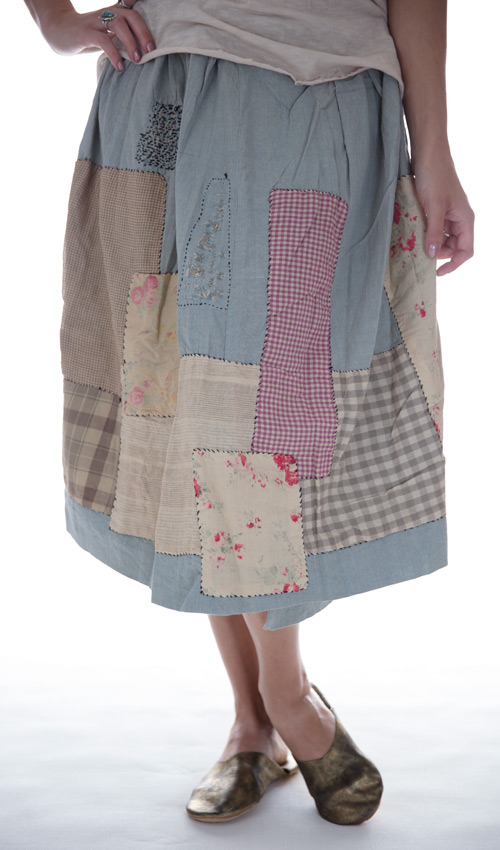European Cotton Nelly Wrap Apron Skirt with Hand Stitched Patches and Mending - Magnolia Pearl