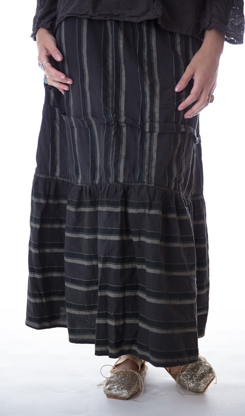 European Cotton Mary Frances Skirt with Drawstring Waist, Antiqued Snaps, and Hand Sewn Pleat