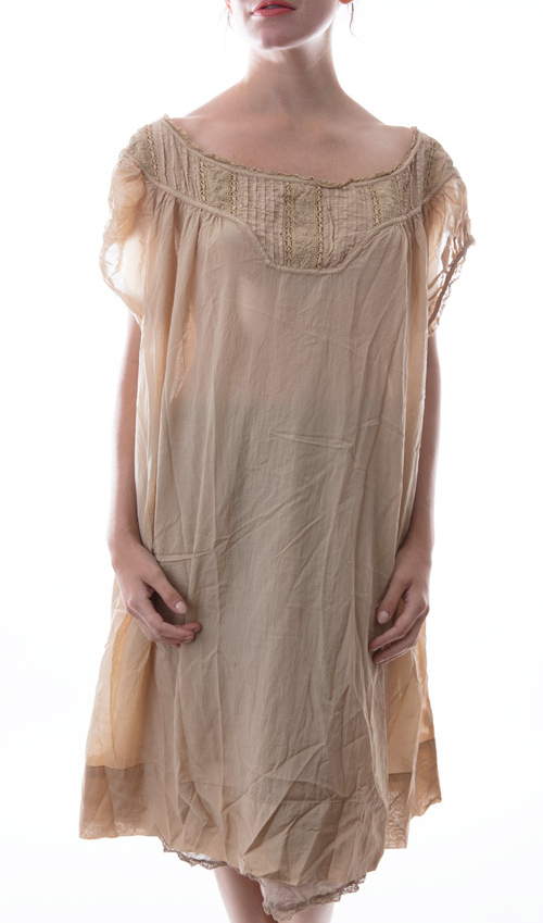 European Cotton Ottilia Dress with Cap Sleeves and Antique Lace - Magnolia Pearl