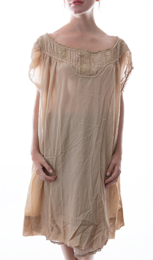 European Cotton Ottilia Dress with Cap Sleeves and Antique Lace - Magnolia Pearl