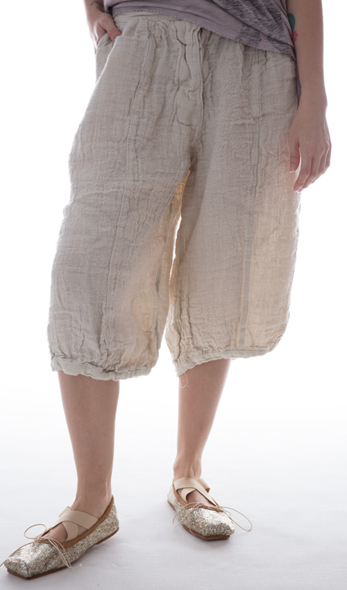 European Hand Woven Linen Essie Rose Pedal Pushers with Front and Back Pockets in Bone - Magnolia Pearl