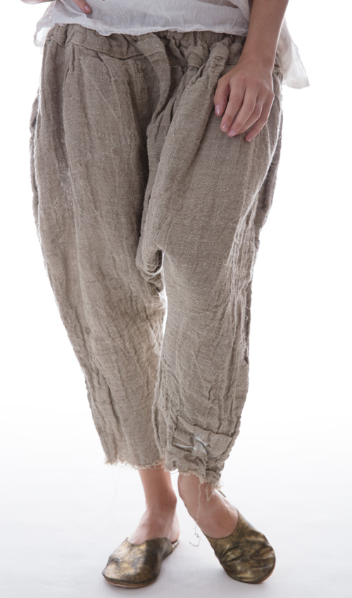 Handwoven European Linen Calla Pants in Moss