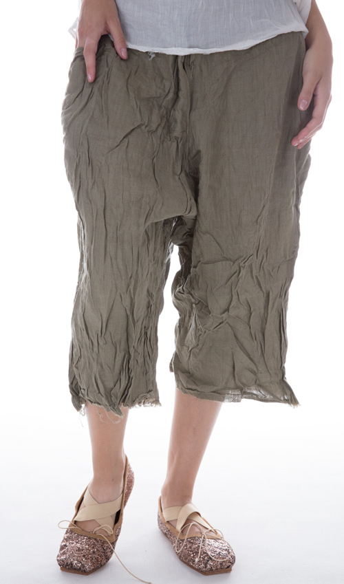 Linen Sveta Pants With Flat Front, Pockets and Rugged Hem in Moss Green