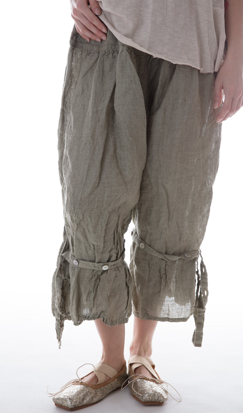 Linen Berdine Pants with Flat Front and Button Ties on the Legs - Magnolia Pearl