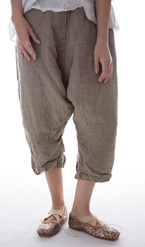 Linen Cordie Pants with Back Pockets and Flat Front - Magnoia Pearl