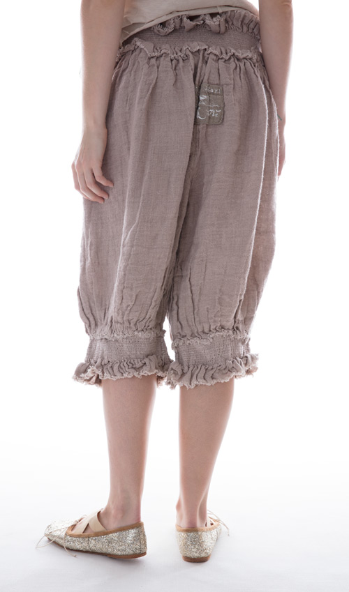 Handwoven European Linen Edlyn Shorts with Shearing Waist and Legs in Antique Lavender