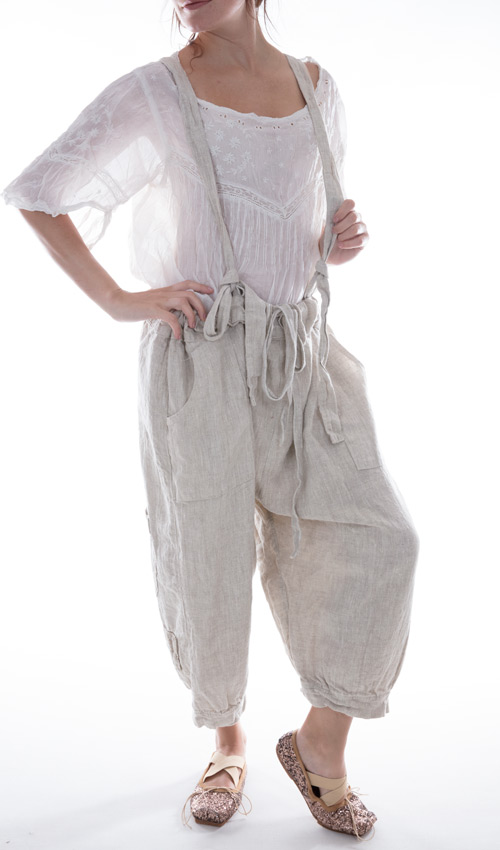 Linen Ophelie Suspender Pants With Pockets in Porridge Cream