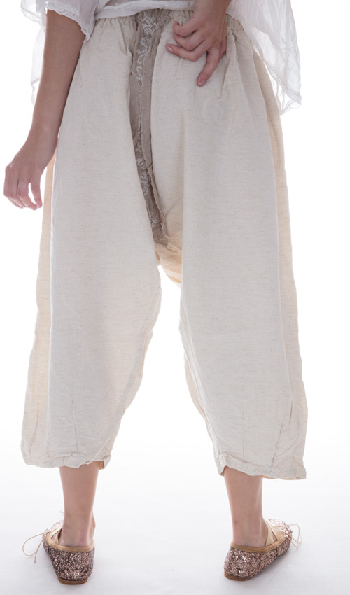French Flex Cotton Emy Pants with Full-Length Front Pocket and Cross-Stitch in Natural Cotton - Magnolia Pearl