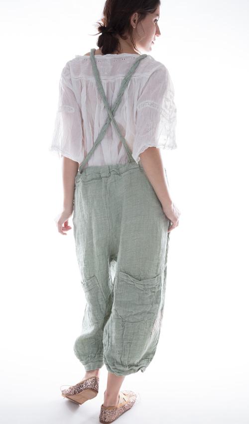 Handwoven Linen Ophelie Suspender Pants in Seafoam