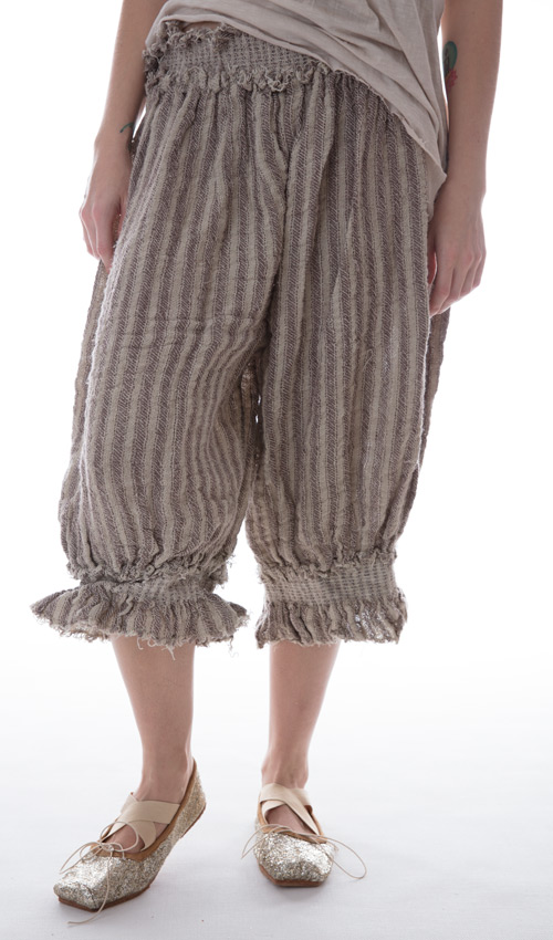 Handwoven European Linen Edlyn Shorts with Shearing Waist and Legs in Espresso Stripe